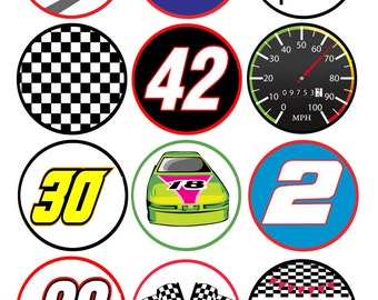 Printable Racing Cupcake Toppers Instant Download Car Race Party Supply Digital File