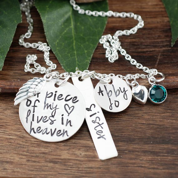 Memorial Necklace, A piece of my heart lives in heaven, Personalized Necklace, Remembrance Necklace, Loss of Sister, In Memory Of