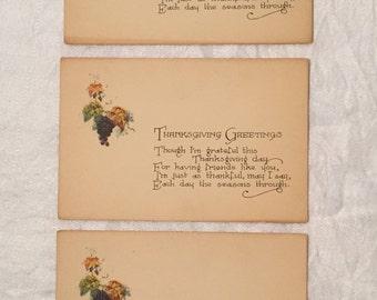THREE Antique Thanksgiving Postcards - 1908