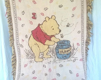 Winnie the pooh with his hunny jar woven small throw/ baby blanket/ wall tapestry FREE SHIPPING
