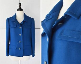 60s blue blazer | vintage womens jacket | 1960s structured jacket