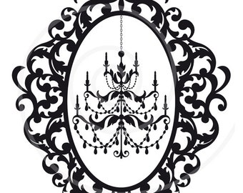 Antique chandelier in vintage picture frame silhouette, digital clipart, clip art, commercial use, vector, EPS, SVG files, instant download