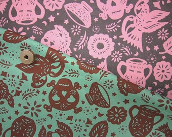 Sale ONE YARD Skeleton Candy party  emerald green and chocolate color Japanese KOKKA fabric