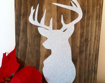 Wood Christmas Sign, Holiday Sign, Deer Head Sign HD-2