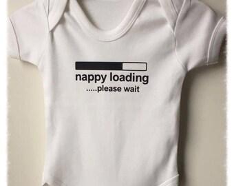 Nappy Loading Please Wait Baby Vest
