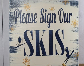 Guest SKIS Wedding Sign/Please Sign Our SKIS/Photo Prop/U Choose Colors/Great Shower Gift/Blue/gold
