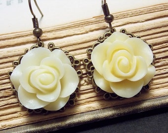 Yellow and Bronze Filigree Rose Earrings