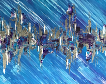The blues 1 abstract acrylic canvas