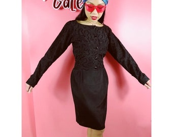 Vtg 80s Abstract Print Long Sleeve Midi Dress M