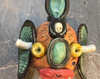Japanese Oni, wall hanging, ceramic head