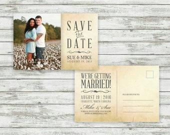 Rustic Wedding Save-The-Date Postcard, Vintage Wedding, Save the Date Postcard, Wedding Save the Date - Printable