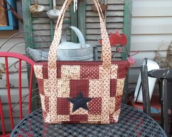 Large Quilted Handbag Purse Primitive lots of pockets Homespun