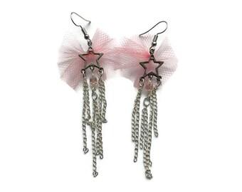 Falling star earrings // Shooting star earrings //Pink earrings // Star earrings // Gift for her