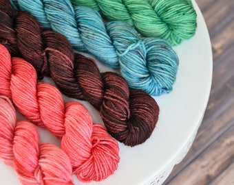 Macaron Mini Skein Set on Washable, Mini Skeins, Sock Yarn Mini Skeins