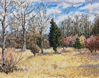 """Original Impressionist landscape oil painting """"Nothing To See Here"""" 11x14"""
