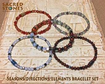 SEASONS BRACELET SET: Five Shamanic Wheel of the Year Bracelets to honour and celebrate the changing seasons.