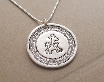 Mother and Twin Giraffe Necklace, Mom and Two Kids, Family Necklace, Twin Jewelry, Fine Silver, Sterling Silver Chain, Made To Order