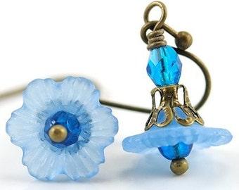 Floral Jewelry, Aqua Blue Earrings, Lucite Flower Earrings, Petite, Dainty, Lightweight, Everyday wear, Cute, Gift for Gardener Aqua Blue II