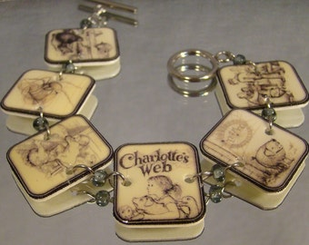 Charlotte's Web Book Illustration Bracelet - Reader Jewelry - Classic story jewellery