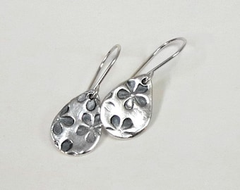 Precious Metal Clay Earrings, Pure Fine Silver Earrings, Sterling Silver Earwires, Hand Stamped Earrings