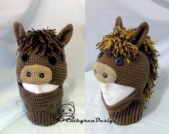 Pony Ski Mask Hat, 5 Sizes Child-Adult, INSTANT DOWNLOAD Crochet Pattern