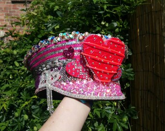 """Custom Made Military Captains Hat """"Queen of Hearts""""... over 3000 crystals, sequins, lights and much more!"""
