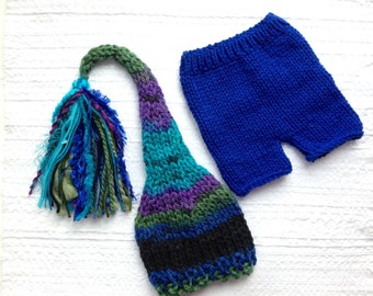Baby Boy OuTFiT Knit Newborn - 3 month BaBY PHoTo PRoP Tassel SToCKiNG CaP PaNT SET Royal Blue Turquoise Stripe Beanie CoMiNG HoME Gift RTS