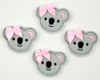 KOALA - Embroidered Felt Embellishments / Appliques - Gray  (Qnty of 4) SCF6135