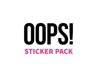 OOPS sticker pack, sticker sale, thank you stickers, packaging stickers, sticker sheets, sample stickers, Poshmark package thank you sticker