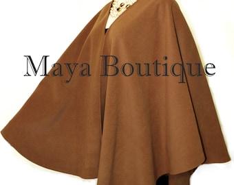 Caramel Cape Ruana Wrap Coat Cashmere Wool Blend by Maya Matazaro Made in USA