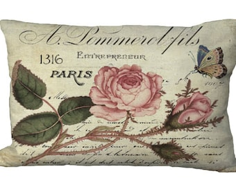 Oblong  Pink Roses on French Script Lumbar Pillow Cover 24x16 or 20x13 or 18x12