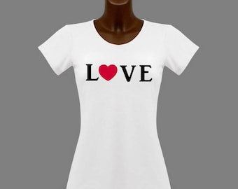 T-shirt women white love heart