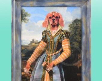 "Ruby Red Cavalier King Charles Spaniel Renaissance Princess Giclee Print 8"" x 10""  FRAMED Animal Art Anthropomorphic Anthro Artwork Gift Dog"