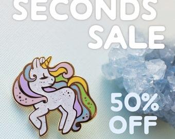 SECONDS SALE: Unicorn Rainbow Pastel Enamel Pin (B-grade, Imperfect) Half Price