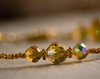 Topaz Bridal Bracelet Gold vintage Swarovski handmade delicate unique autumn wedding