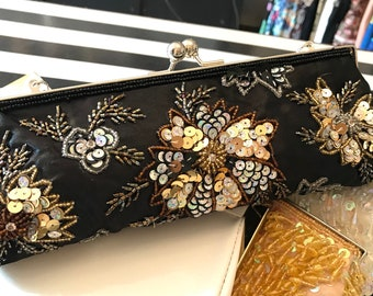 Black Silk Sequin Evening Bag, Black Evening Bag, Black Clutch Purse