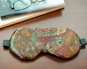 Weighted Sleeping Eye Mask in Sienna Paisley