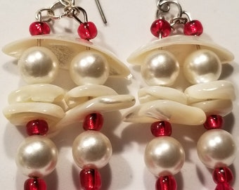 Handcrafted Mother of Pearl Shells Faux Pearl Red Glass Bead Dangle Earring