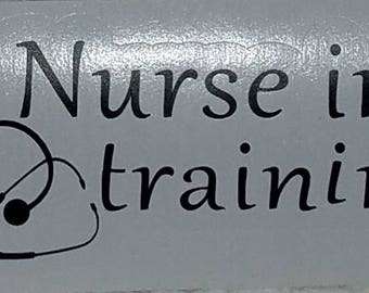 Nurse in training/stethescope/vinyl decal/decal/sticker/car decal/window decal/nurse decal/black decal/ silhouette decal/wall decal/heart