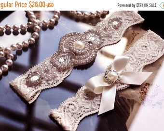 ON SALE Wedding Garter Belt, Bridal Garter Belt, Ivory Lace Garter, Garter Set, Pearl Garter, Wedding Garter Set w/ Bow, Vanessa Style- G108
