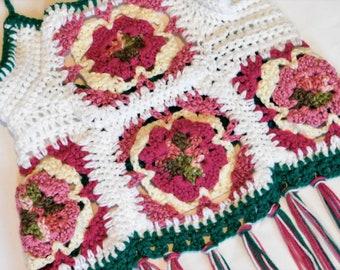 Saribears Designs, Floral Halter Top, Crochet Halter Top, Granny Square Halter Top, Fringe Halter Top, Crochet Summer top, Floral halter top