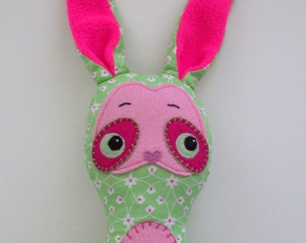 Soft cotton and felt springtime bunny toy, 19in, green, pink, and hot pink