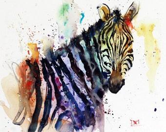 ZEBRA Watercolor Print, Animal Print, Zebra Art, by Dean Crouser