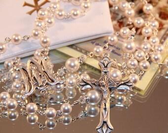 Catholic Swarovski White Pearl Rosary