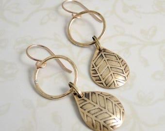 Etched Brass Earrings - Brass Drop Earrings -  Herringbone Pattern