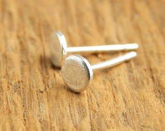 Tiny silver studs, Ready To Ship! 4 mm shiny or oxidized sterling silver post stud earrings, tiny circles, gift for women.