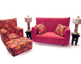 Barbie Doll Living Room Furniture 9-PC Play Set-1:6 scale-Pink with flower print works with Blythe any 11 inch fashion doll