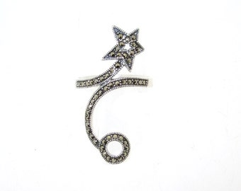 Art Deco Ring Silver Marcasite Shooting Star