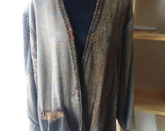 Vintage Donna Jessica Cardigan Sweater Wearable Art Patchwork Hippie Boho Funky Artsy Womens Size 2X Over Sized Artisan Plus Sized