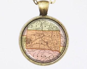 South Dakota Map Necklace - Vintage Map of South Dakota -Vintage Map Series